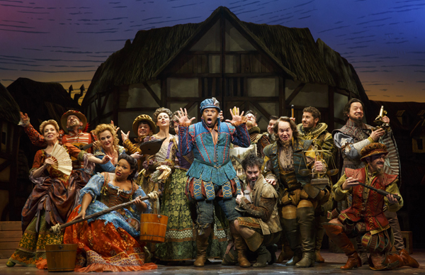 The cast of Wayne Kirkpatrick, Karey Kirkpatrick, and John O'Farrell's Something Rotten!, directed by Casey Nicholaw, at Broadway's St. James Theatre.