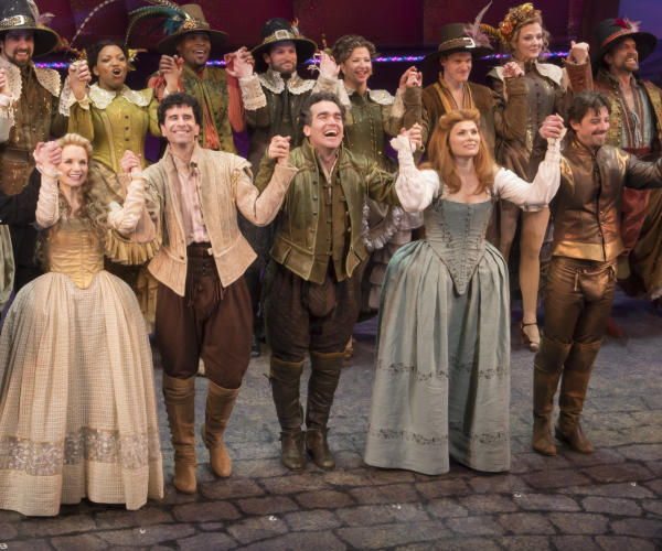 Kate Reinders, John Cariani, Brian d'Arcy James, Heidi Blickenstaff, and Christian Borle take their bows on the opening night of Something Rotten! at the St. James Theatre.