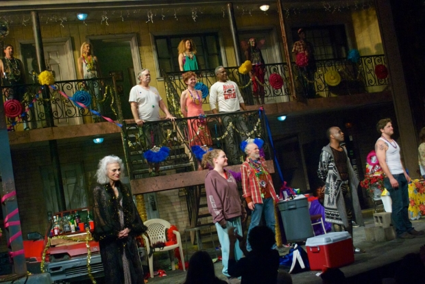 The cast of Airline Highway takes an opening-night bow at the Samuel J. Friedman Theatre.