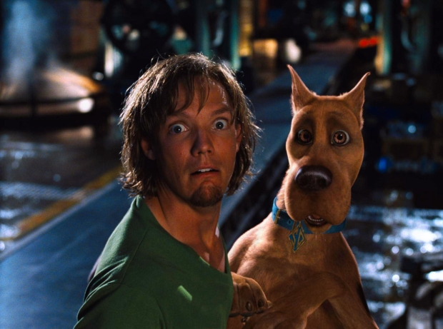 Matthew Lillard as Shaggy with Scooby-Doo in the Scooby-Doo film series, which began in 2002.