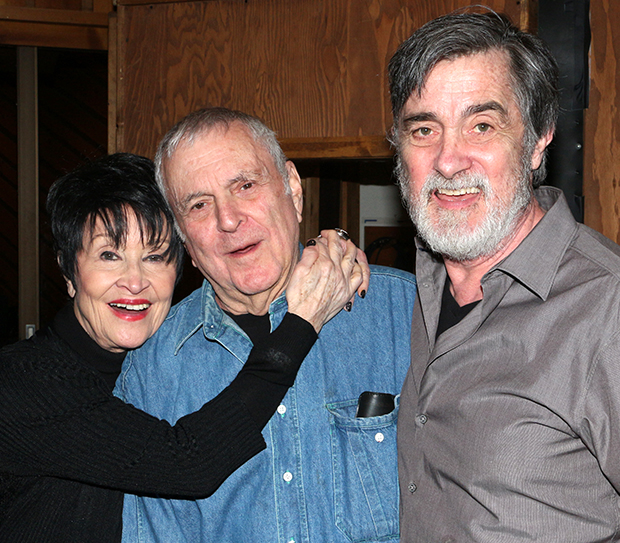 Chita Rivera and Roger Rees flank their composer, John Kander, in the recording studio.
