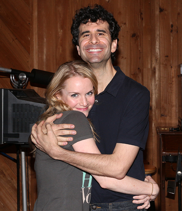Kate Reinders (Portia) gives a big hung to her onstage leading man, John Cariani (Nigel Bottom).