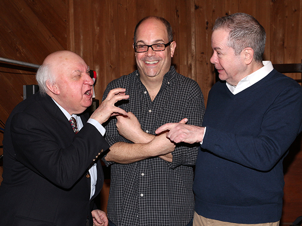 Gerry Vichi, Brad Oscar, and Peter Bartlett fight over who gets to record first.