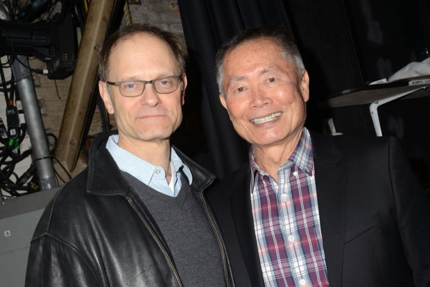 It Shoulda Been You director David Hyde Pierce poses with George Takei backstage.
