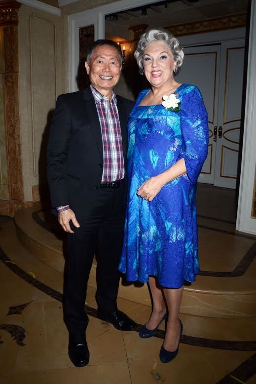 George Takei with Tyne Daly on the stage of Broadway's It Shoulda Been You.