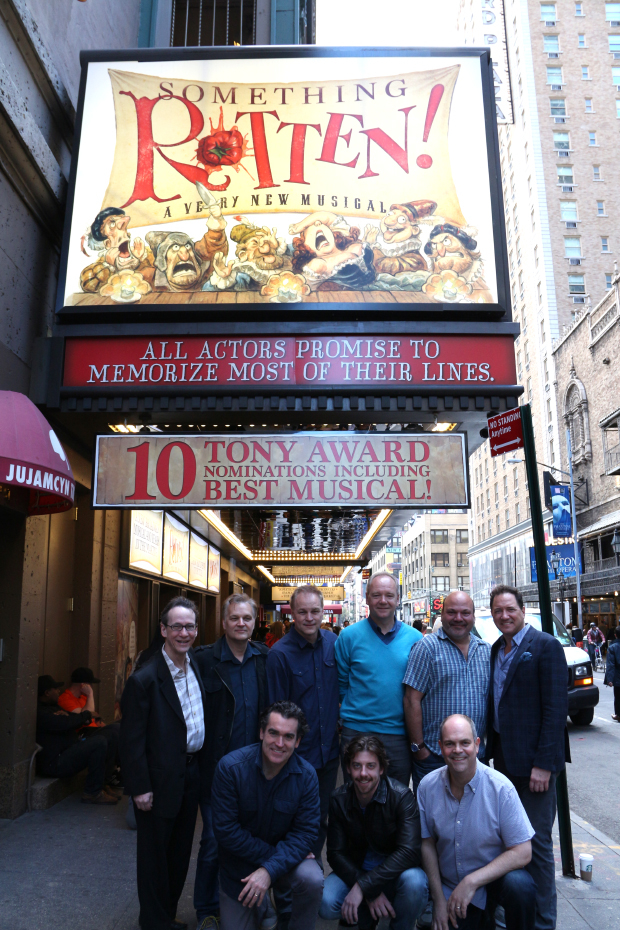 The Something Rotten! Tony nominees celebrate their new signage at the St. James Theatre.