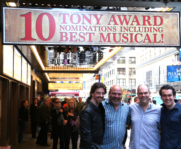 Congrats to Something Rotten! family members Christian Borle, Casey Nicholaw, Brad Oscar, and Brian d'Arcy James on their Tony nominations!