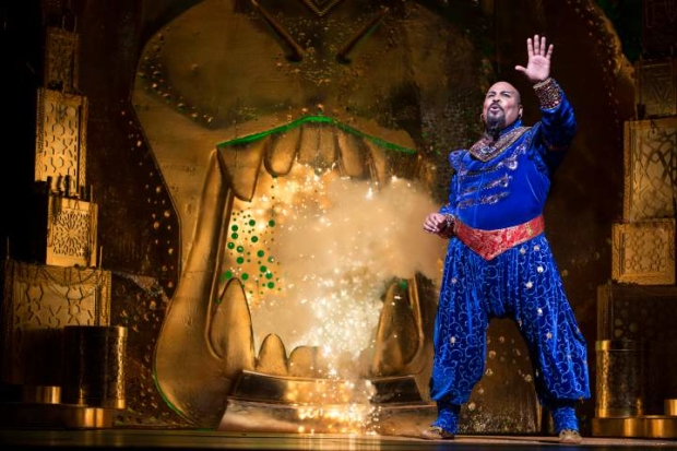 James Monroe Iglehart as the Genie in Disney's Aladdin at the New Amsterdam Theatre.