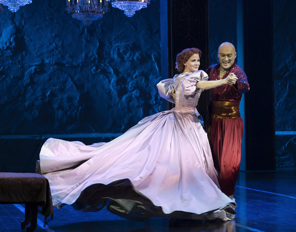 Kelli O'Hara and Ken Watanabe star in Rodgers and Hammerstein's The King and I, directed by Bartlett Sher, at the Vivian Beaumont Theater.