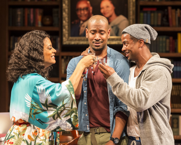 Cynda Williams, Bryan Terrell Clark, and Kamal Angelo Bolden in Paul Oakley Stovall's Immediate Family, directed by Phylicia Rashad, at the Mark Taper Forum.