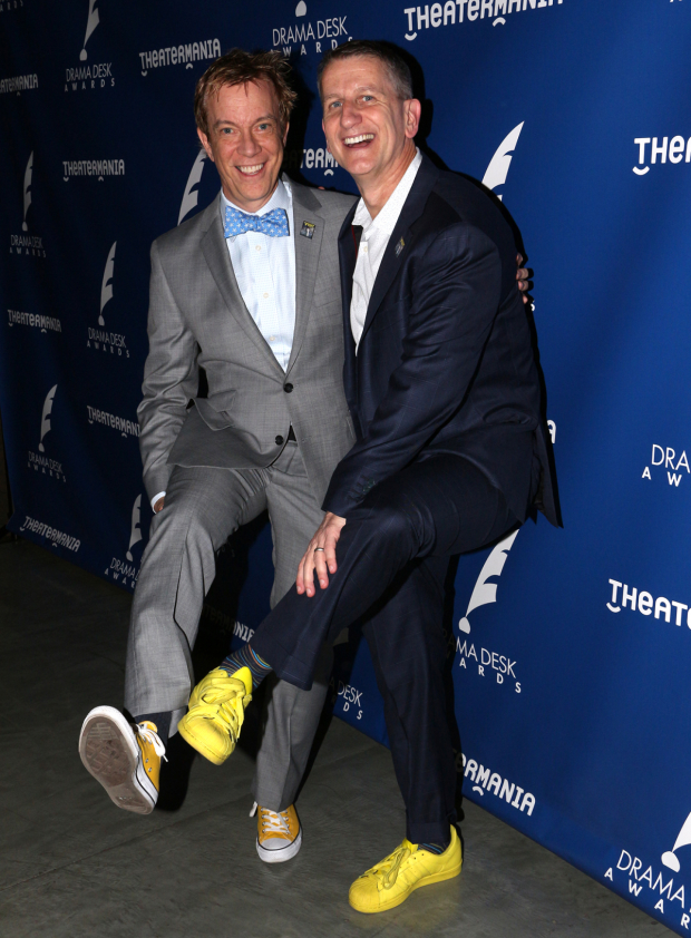 The Visit producers Tom Smedes and Tom Kirdahy celebrate the show's seven Drama Desk nominations with yellow shoes, a recurring theme in the musical.