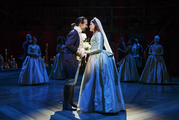 Lin-Manuel Miranda and Phillipa Soo starred in Hamilton, directed by Thomas Kail, at The Public Theater.