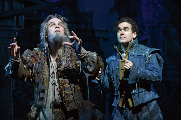 Richard Seff Award recipient shares a scene  with Brian d'Arcy James in Something Rotten! on Broadway.