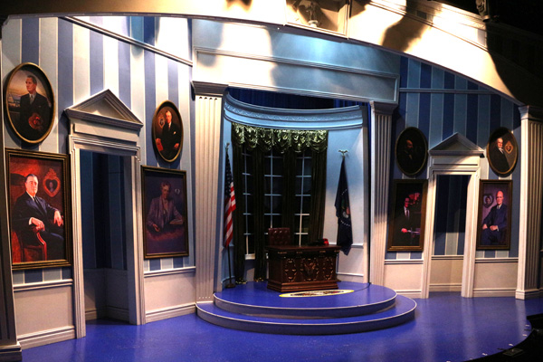 The Oval Office, as depicted by set designer Beowulf Boritt in Clinton the Musical, directed by Dan Knechtges, at New World Stages.