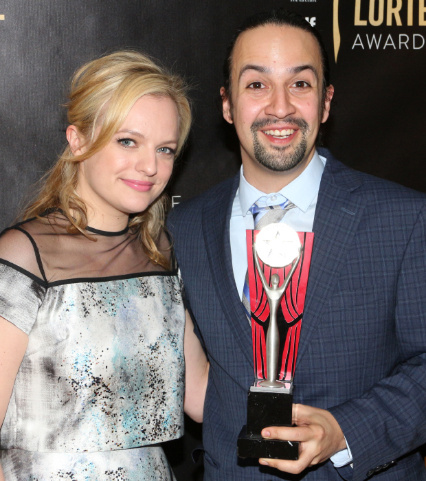 Mad Men star Elisabeth Moss presented Lin-Manuel Miranda with his Lucille Lortel Award for Best Actor in a Musical.