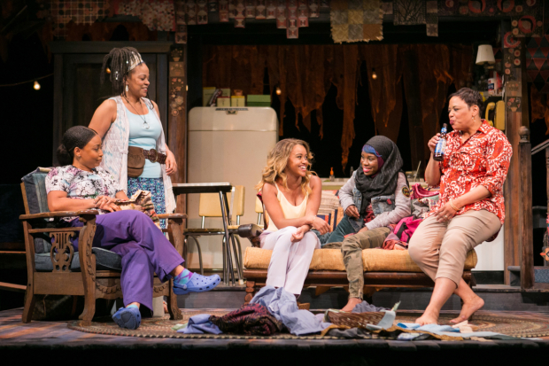 Nikiya Mathis (Cassan), Tonye Patano (Clementine), Meeya Davis (Amber), Afi Bijou (Zambia), and Caroline Clay (Gio) in Katori Hall's The Blood Quilt, directed by Kamilah Forbes, at Arena Stage.