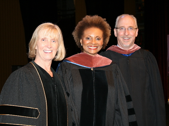 Dean Brid Grant, Dr. Leslie Uggams, and Professor Vincent Cardinal, artistic director of Connecticut Repertory Theatre at May 9's commencement ceremony.