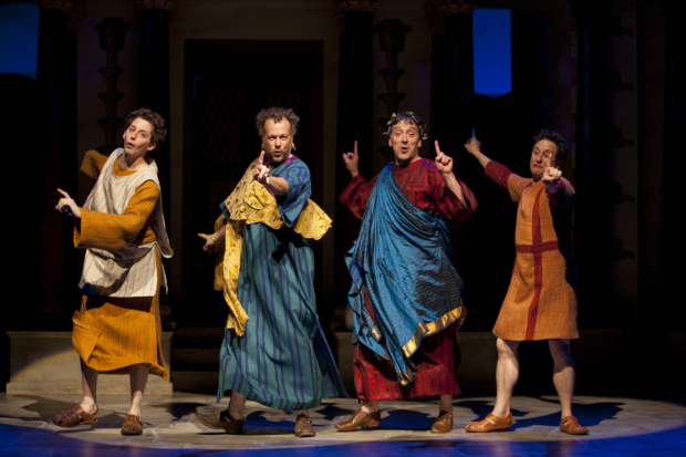 Josh Grisetti, David Costabile, Jeremy Shamos, and Christopher Fitzgerald in Jessica Stone's 2010 Williamstown Theatre Festival revival of A Funny Thing Happened on the Way to the Forum.