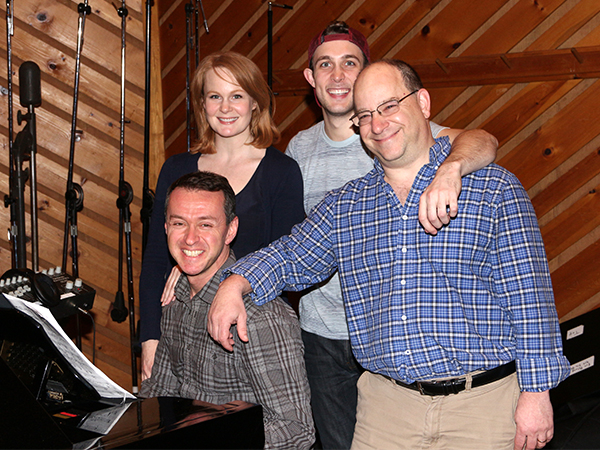 Cast members Kate Baldwin and Conor Ryan with creators Andrew Lippa (seated) and Tom Greenwald.