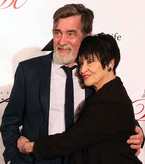 The Visit stars Roger Rees and Chita Rivera share a hug at the 2015 Drama League Awards.