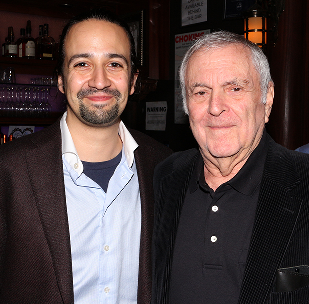 Lin-Manuel Miranda is presented with the 2015 Drama Critics' Circle Best Musical Award by Tony-winning composer John Kander.