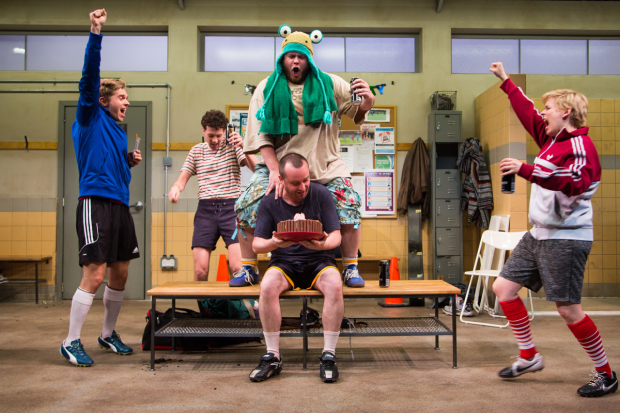 Zdenko Martin (Danny), Liam Forde (Luke), Jonathan Judge-Russo (Beardy Geoff), Michael Glenn (Joe), and Kimberly Gilbert (Viv) in Jumpers for Goalposts, directed by Matt Torney, at Studio Theatre.