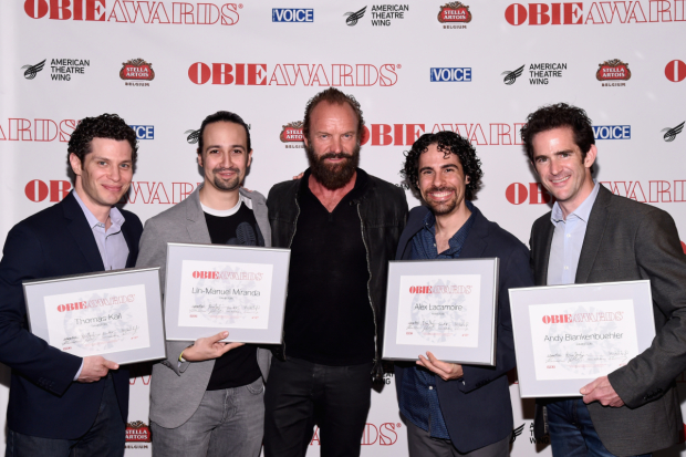 Hamilton Obie winners Thomas Kail, Lin-Manuel Miranda, Alex Lacamoire, and Andy Blankenbuehler pose with their honor's presenter, music icon Sting.