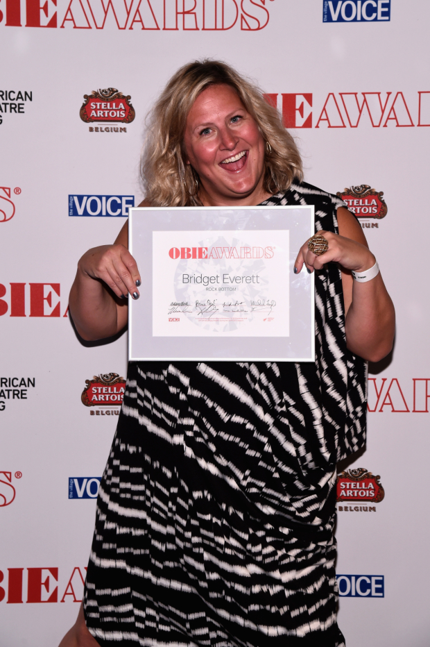 Bridget Everett shows off her 2015 Obie Award for her show Rock Bottom.