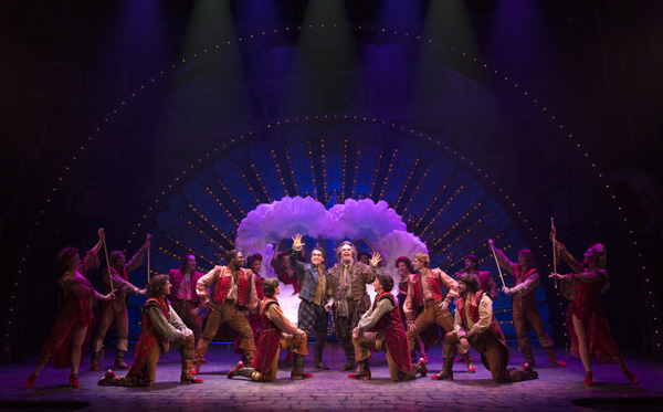 A scene from Something Rotten!, a new Broadway musical by Karey Kirkpatrick, Wayne Kirkpatrick, and John O'Farrell. Many of the book scenes were written remotely, with the authors in different time zones.