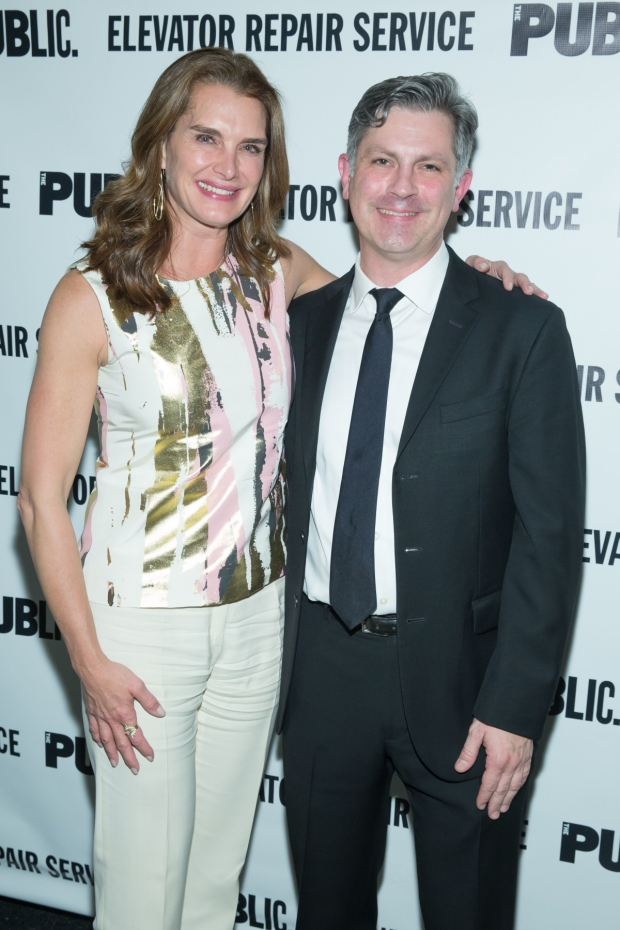 Brooke Shields and ERS Artistic Director John Collins at The Public Theater's opening night celebration of the Mobile Shakespeare Unit's Macbeth and Elevator Repair Service's The Sound and the Fury.