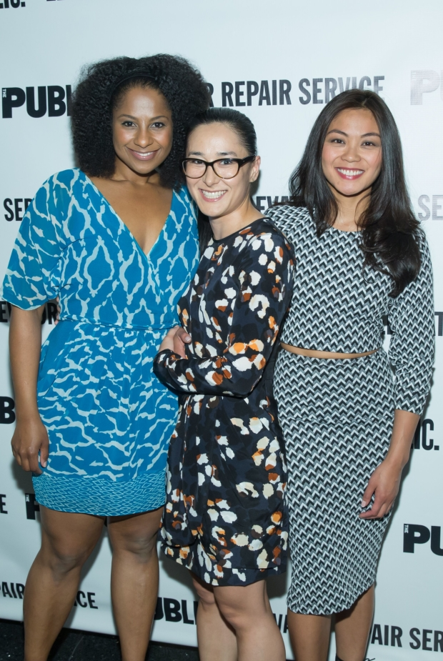 Macbeth company members Nicole Lewis, Jennifer Ikeda, and Teresa Avia Lim pose together at their play's opening night celebration at The Public Theater.