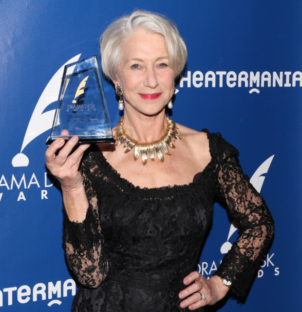 Helen Mirren regally holds her Drama Desk aloft.
