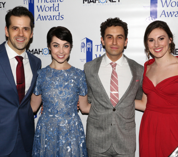 2015 Theatre World Award winners Robert Fairchild and Leanne Cope share a photo with fellow American in Paris cast member Brandon Uranowitz, and Fairchild's wife, Little Dancer star Tiler Peck.