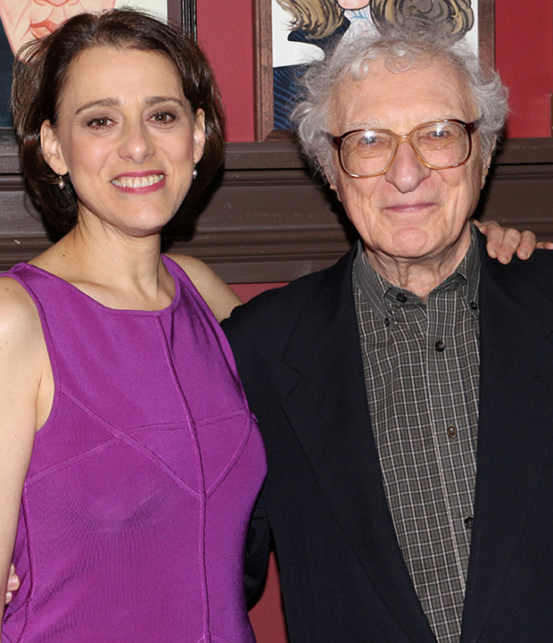 Judy Kuhn gives a squeeze to legendary theatrical songwriter Sheldon Harnick, who helped Kuhn earn a Tony nomination for the musical She Loves Me.
