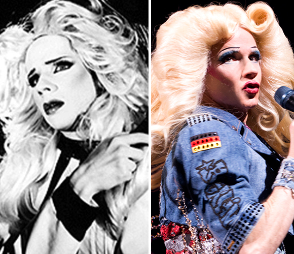 Left: John Cameron Mitchell in the original 1998 production of Hedwig and the Angry Inch; right: John Cameron Mitchell as Hedwig on Broadway in 2015.