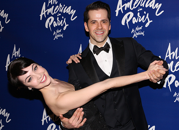 Leanne Cope and Robert Fairchild strike a pose at the American in Paris opening night party.