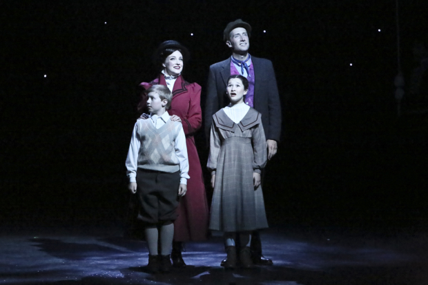 (Back) Brandi Burkhardt, Leigh Wakeford, (front) Logan J. Watts, and Noa Solorio in Mary Poppins, directed by Glenn Casale, at La Mirada Theatre.