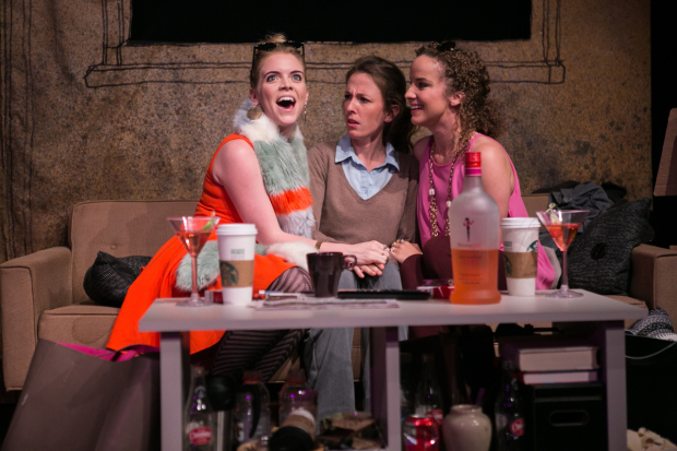 Sara Dabney Tisdale (Ashley Olsen), Katie Ryan (Grace), and Suzanne Stanley (Mary-Kate Olsen) in Mary-Kate Olsen Is In Love, directed by Holly Twyford, at Studio Theatre.