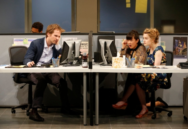 Ryan Spahn, Jennifer Kim, and Catherine Combs share a scene in the world-premiere play.