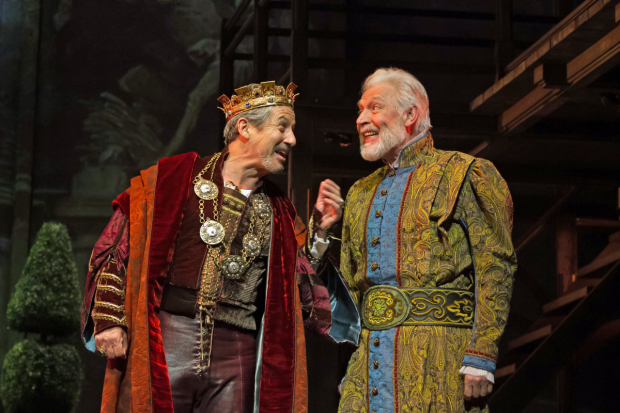 Charles Shaughnessy as King Francis and Tony Sheldon as Leonardo da Vinci in Ever After at Paper Mill Playhouse.