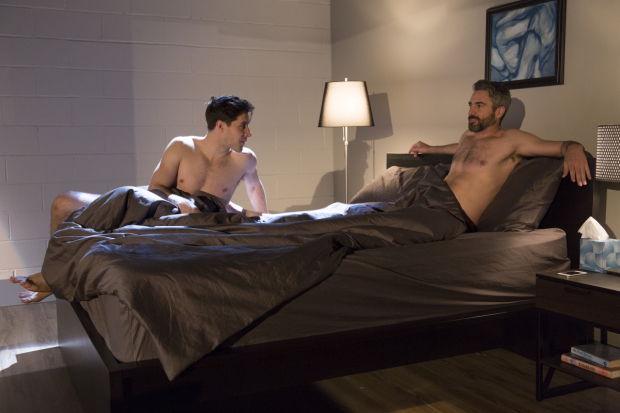Michael Goldstein as Kurt and Mark McCullough Thomas as Ron in Consent, written and directed by David Rhodes, at the Black Box Theatre at the Harold and Miram Steinberg Center.