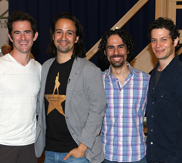 The Hamilton creative team: Andy Blankenbuehler (choreography), Lin-Manuel Miranda (book, music, and lyrics), Alex Lacamoire (musical supervision and orchestrations), and Thomas Kail (director).