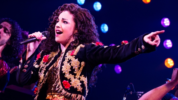 Ana Villafañe as Gloria Estefan in the new Broadway-bound biomusical On Your Feet!, directed by Jerry Mitchell, at Chicago's Oriental Theatre.
