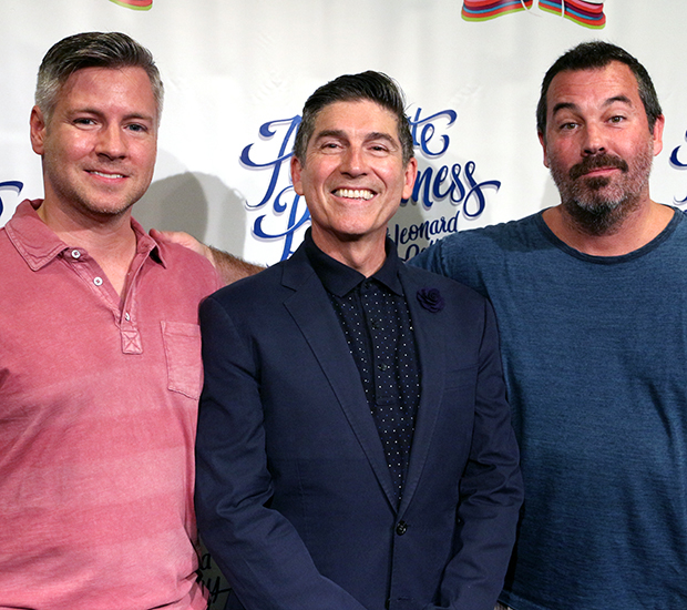 Writer/performer James Lecesne is flanked by director Tony Speciale (left) and composer Duncan Sheik (right).