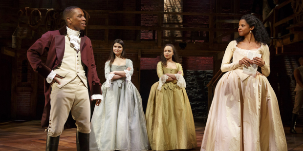 Leslie Odom Jr, Phillipa Soo, Jasmine Cephas Jones, and Renée Elise Goldsberry in Hamilton.