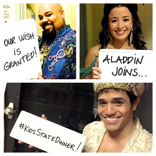 The stars of Aladdin promote the Kids State Dinner on Twitter.