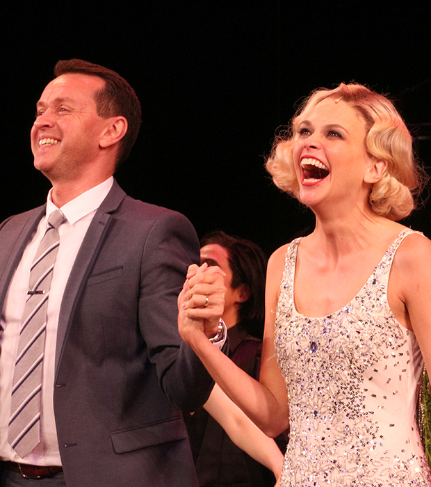 Andrew Lippa and Sutton Foster take a bow on the opening night of The Wild Party at New York City Center.
