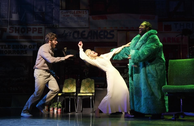 As Audrey II in the recent Encores! Off-Center production of Little Shop of Horrors, Eddie Cooper (right) terrorized Jake Gyllenhall (left) and Ellen Greene (center).