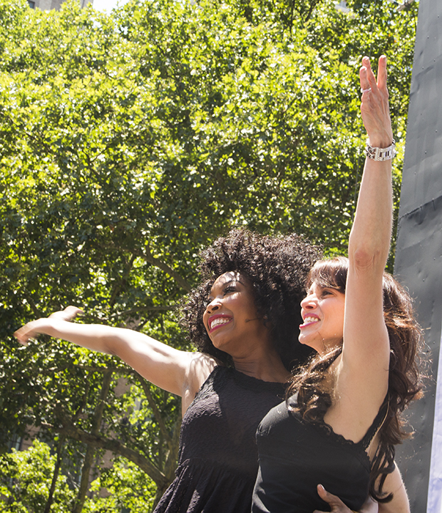 "Brandy Norwood and Donna Marie Asbury perform the ""Hot Honey Rag"" from Chicago at Broadway in Bryant Park."