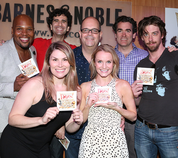 Michael James Scott, John Cariani, Heidi Blickenstaff, Brad Oscar, Kate Reinders, Brian d'Arcy James, and Christian Borle show off the brand-new Something Rotten! CD.